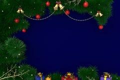 3D som framför bakgrund för nytt år, julmed glitter, bollar och gåvor Arkivbild