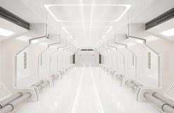 3D som framför beståndsdelar av denna möblerade bild, vit inre för rymdskepp, tunnel, korridor, hall royaltyfri illustrationer
