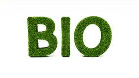 3D som framför BIO ord gjort av grönt gräs royaltyfri illustrationer