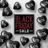 3D som framför Black Friday Sale ballonghjärtor Royaltyfri Bild