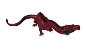 3D som framför den östliga draken på vit Fotografering för Bildbyråer