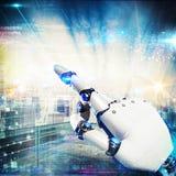 3D som framför den futuristiska handroboten Fotografering för Bildbyråer