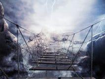 3D som framför den instabila bron under en åskväder Royaltyfria Bilder