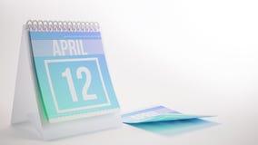 3D som framför den moderiktiga färgkalendern på vit bakgrund - april Arkivbilder