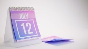3D som framför den moderiktiga färgkalendern på vit bakgrund - juli 1 Arkivfoto