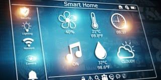 3D som framför den moderna digitala smarta husmanöverenheten Arkivbilder