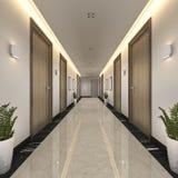 3d som framför den moderna lyxiga trä- och tegelplattahotellkorridoren Arkivbild