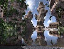 3D som framför den tropiska ön Royaltyfri Foto