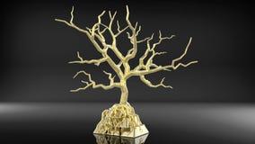 3d som framför det guld- trädet som växer på guld- guldtacka Royaltyfria Bilder