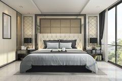 3d som framför det moderna lyxiga klassiska sovrummet med marmordekoren Royaltyfri Bild