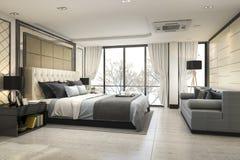 3d som framför det moderna lyxiga klassiska sovrummet med marmordekoren Arkivfoto