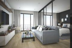 3d som framför det moderna minsta wood vardagsrum och sovrummet i lägenhet Royaltyfri Fotografi