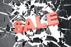 3D som framför det Sale meddelandet för, shoppar Hoppa till salu lagerbaner för affär Sale som krossar jordning, med volymljus 3d Royaltyfri Foto