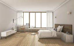 3d som framför det trevliga moderna sovrummet med dagsljus från fönster royaltyfri illustrationer