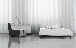 3D som framför det vita sovrummet stock illustrationer