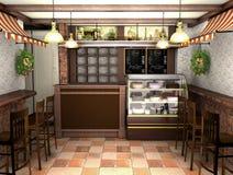 3d som framför en inre av ett kafé i den franska stilen Royaltyfri Bild