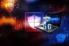3d som framför 5G, knyter kontakt 5G anslutning, internetbegreppet, trådlöst internetuppkopplingbegrepp stock illustrationer