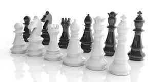 3d som framför grundläggande schackuppsättningar på vit bakgrund Royaltyfri Foto