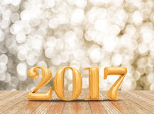 2017 3d som framför guld- färg för nytt år i perspektiv, hyr rum intelligens Fotografering för Bildbyråer