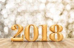 2018 3d som framför guld- nummer för nytt år i perspektiv, hyr rum intelligens Arkivbilder