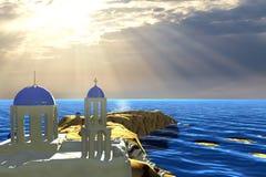3d som framför härligt landskap med trevlig färg och moln Arkivfoto