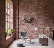 3D som framför Industrail stilvardagsrum, det stora fönstret, den grå soffan för lampa och stol, trägolv, cykel på väggen för röd vektor illustrationer