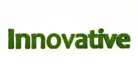 3D som framför INNOVATIVT ord gjort av grönt gräs royaltyfri illustrationer