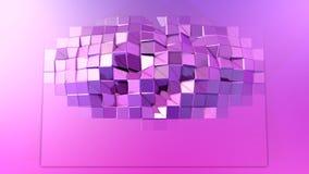 3d som framför låg poly abstrakt geometrisk bakgrund med modern lutning, färgar yttersida 3d med röd violett lutning Arkivbilder