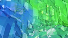 3d som framför låg poly abstrakt geometrisk bakgrund med modern lutning, färgar yttersida 3d som tecknad filmterräng med blått Royaltyfria Bilder