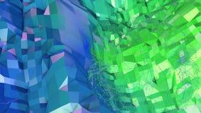 3d som framför låg poly abstrakt geometrisk bakgrund med modern lutning, färgar yttersida 3d som tecknad filmterräng med blått Arkivfoto