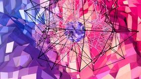 3d som framför låg poly abstrakt geometrisk bakgrund med modern lutning, färgar yttersida 3d som tecknad filmterräng med blått Royaltyfria Foton
