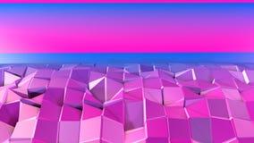 3d som framför låg poly abstrakt geometrisk bakgrund med modern lutning, färgar yttersida 3d som tecknad filmterräng med blått Royaltyfri Bild