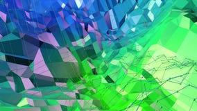 3d som framför låg poly abstrakt geometrisk bakgrund med modern lutning, färgar yttersida 3d som tecknad filmterräng med blått Arkivbilder
