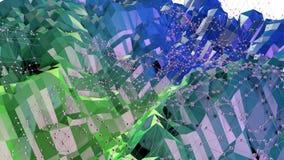 3d som framför låg poly abstrakt geometrisk bakgrund med modern lutning, färgar yttersida 3d som tecknad filmterräng med blått Arkivfoton