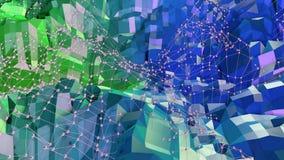 3d som framför låg poly abstrakt geometrisk bakgrund med modern lutning, färgar yttersida 3d som tecknad filmterräng med blått Fotografering för Bildbyråer