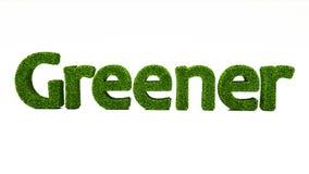 3D som framför MER GRÖN ord gjort av grönt gräs stock illustrationer