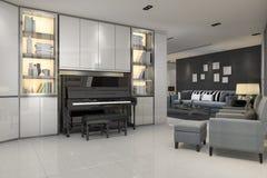 3d som framför modern grå vardagsrum med piano- och blåttfåtöljen Fotografering för Bildbyråer