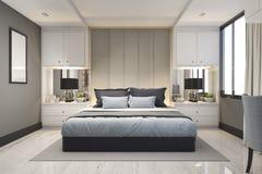 3d som framför modern lyx, slösar sovrummet med marmordekoren Royaltyfri Foto