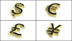 3d som framför oss dollar, euro, brittiskt pund och yen-yuan Royaltyfri Foto