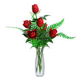 3D som framför röda rosor på vit Royaltyfri Bild
