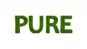3D som framför RENT ord gjort av grönt gräs royaltyfri illustrationer