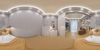 3d som framför sfäriska 360 grader, sömlös panorama av sovrummet Royaltyfria Bilder