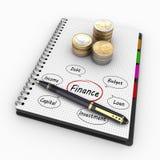 3D som framför spiralanteckningsboken med mynt och skriftliga ord av ekonomin och finansen Royaltyfri Foto