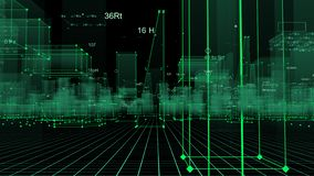 3D som framför teknologisk digital bakgrund som består av en futuristisk stad med data vektor illustrationer