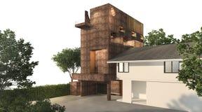 3d som framför trevlig tegelstenbyggnad med geometridesignbyggnad med lodlinje, arbeta i trädgården stock illustrationer