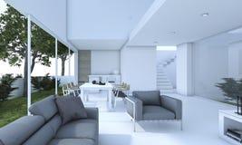 3d som framför trevlig vardagsrum med den lilla trädgården stock illustrationer