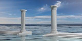 3d som framför två vita marmorpelare Royaltyfri Foto
