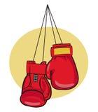 3d som isoleras på vit bakgrund Handskevektorillustrationer Symbol för boxninghandskar Boxninghandskar på en spika Handskar för u Arkivfoto