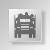 3D som loggar begrepp för lastbilknappsymbol Arkivbild