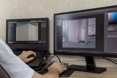 3D som modellerar på datoren royaltyfri fotografi